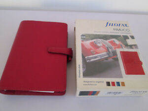 Filofax Organiser Personal Size Pimlico Red Grained Italian Leather Boxed