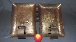 Antique Arts Crafts Large Hammered Brass Candle Wall Sconces 14 X 9 5 Ships