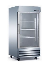 Triplex Stainless Steel 29 inch One Glass Door Refrigerator energy