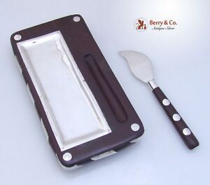 Modernist Butter Cheese Serving Dish And Knife Sterling Silver Ebony 1960s