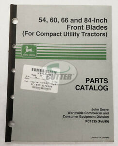 Used John Deere 54 60 66 84 Inch Front Blades Parts Catalog Pc1835