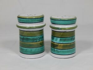 Rare Mid Century Bitossi Raymor Italy Striped Art Pottery Salt Pepper Shakers