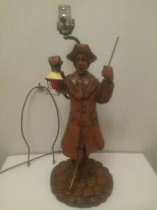 Vintage Colonial Man Hand Carved Equipped With Night Light