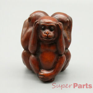 Hand Carved Japanese Boxwood Netsuke Three Wise Monkeys Natural Dark Wood Color