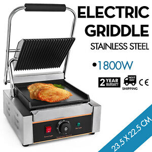 Commercial Electric Contact Press Grill Griddle Bbq Stainless Steel Flat Top