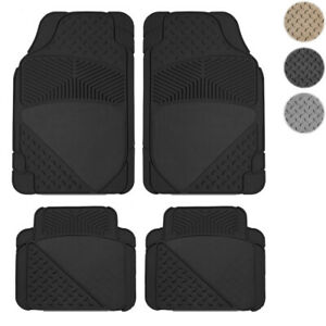New 4pc All Weather Carpeted Flex Car Rubber Floor Mats Liner Set American Cars