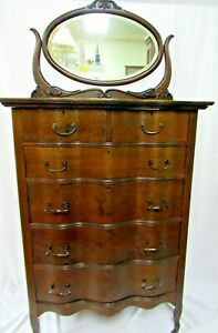 Antique Tiger Oak Highboy Dresser With Serpentine Front And Beveled Mirror