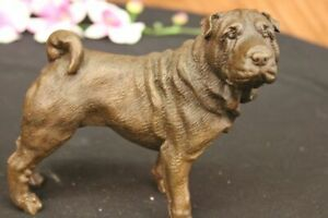 Vintage Bronze Metal Bulldog Figurine Art Metal Dog Statue Decor Hot Cast Deal