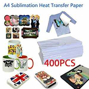 400x Sheet Sublimation Heat Transfer Paper For Light Colors Mug Cup T Shirt A4