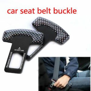 2pcs Car Safety Seat Belt Buckle Alarm Stopper Clip Clamp Carbon Fiber Universal