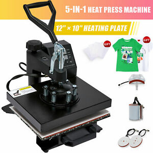 12 X 10 5 In 1 Combo T shirt Heat Press Machine Sublimation Swing Away