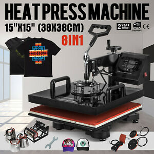 8 In 1 Heat Press Machine 15 x15 Transfer Sublimation T shirt Cap Swing Away