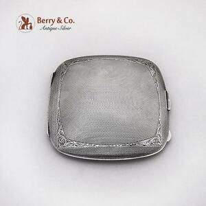 Vintage Engine Turned Engraved Compact Sterling Silver Birmingham 1948