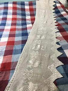 Collectible Vintage Hand Crochet Chinese Bed Skirt Size 60 X 12 B 9