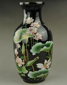 Chinese Old Exquisite Hand Painted Lotus Porcelain Vase Collectible Black