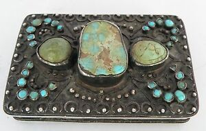 Antique Persian Islamic Turkish Sterling Silver Turquoise Case Box Arabic