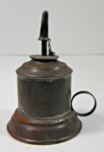 Early American Tinware Fat Lamp W Cover 19th Century
