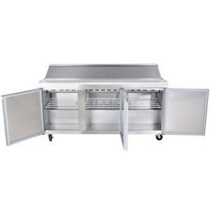 Salad Sandwich Prep Table 70 Refrigerated 3 Door 30 Pans 15 Cu Ft Stainless New