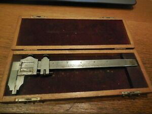 Vintage Starrett 6 Vernier Caliper No 122 With Original Wood Case
