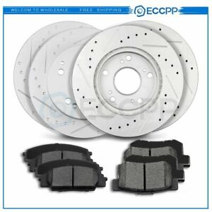 Front And Rear Discs Brake Rotors Ceramic Pads For Acura Rsx 2002 2006 Drilled