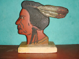 Ant Primitive Folk Art Painted Carved Wood 2 Sided Native American Brave Figure