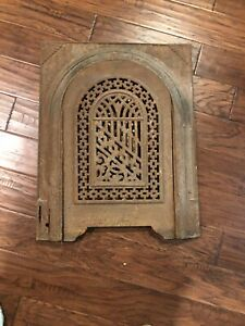 Cast Iron Vintage Antique Arched Fireplace Cover Door Frame See Descr