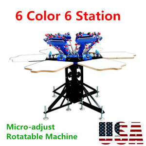 6 Color 6 Station Manual Screen Printing Press Micro adjust Rotatable Machine