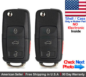 2x New Replacement Remote Key Fob Flip Case 3 Button For Volkswagen Shell Only