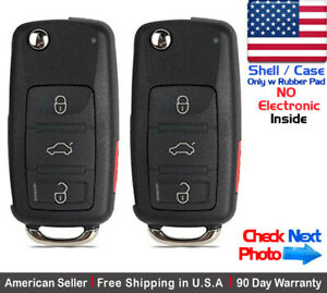 2x New Replacement Remote Key Fob Flip Case For Volkswagen Shell Only