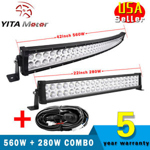 42 560w Curved 22 280w Led Light Bar Flood Spot Combo Offroad Truck Wiring