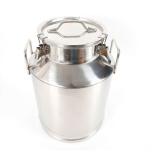 50l 13 25gallon Stainless Steel Milk Can Wine Pail Bucket Tote Jug 350mm 13 8