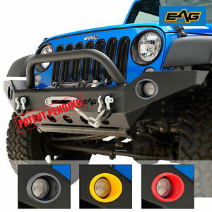 Eag 07 18 Jeep Wrangler Jk Led Front Bumper Full Width With Winch Plate