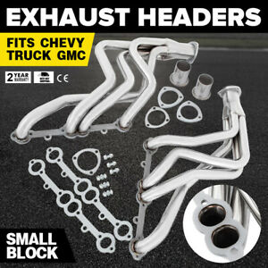 Hot Fit Chevy Gmc Truck Header Set Silver Coated Steel Small Block Advanced Safe