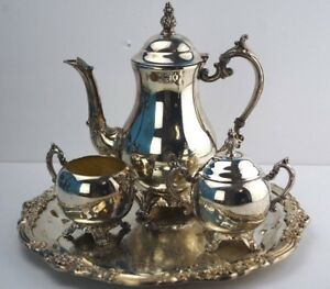 Fb Rogers Silverplated Tea Or Coffee Service Set With Tray Sugar And Creamer