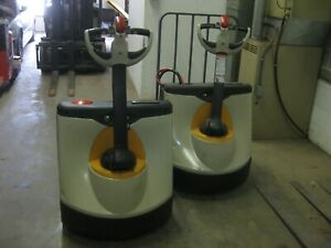 Two 2 Crown Wp2345 45 Electric Pallet Jack 48 Forks Ready To Work Delivery