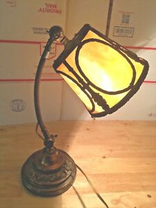 Antique Slag Glass Lamp Piano Student Bankers Lamp Rewired