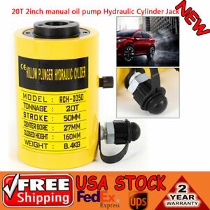 20t Hydraulic Hollow Hole Cylinder Jack Plunger Ram 2 Inch Manual Oil Pump Truck