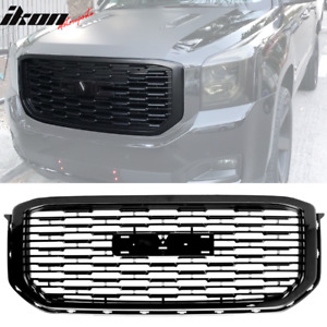 Fits 15 19 Gmc Yukon Denali Style Front Upper Grille Replacement Black Abs
