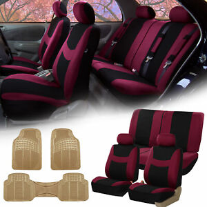 Burgundy Black Car Seat Covers Full Set For Auto W headrests Rubber Floor Mats