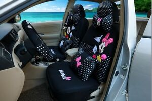Happy Mickey And Minnie Black White Polka Dot Car Seat Covers