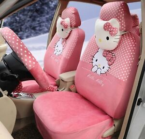 18 Piece Warm Pink Polka Dot Hello Kitty Car Seat Covers