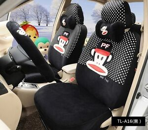 18 Piece Black And White Polka Dot Paul Frank Monkey Car Seat Covers Tl a16