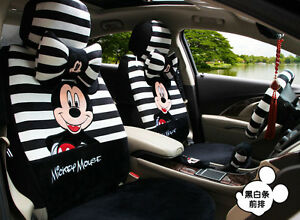 20 Piece Black And White Stripy Mickey Mouse Car Seat Covers