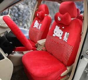 17 Piece Super Soft Red Hello Kitty And Bunny Car Seat Covers