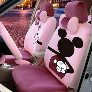 18 Piece Light Purple Mickey Mouse Valentine Car Seat Covers