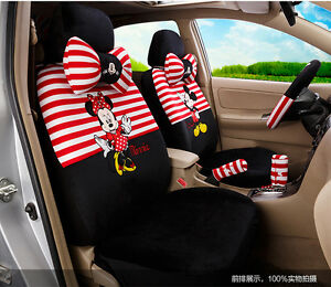 18 Piece Red White Stripy Mickey And Minnie Car Seat Covers