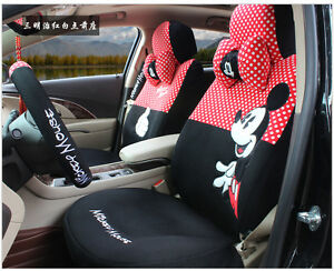 20 Piece Red And Black Polka Dot Mickey Mouse Car Seat Covers