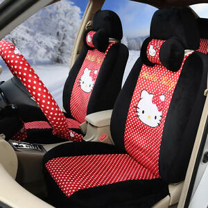 18 Piece Black And Red Full Polka Dot Hello Kitty Car Seat Covers