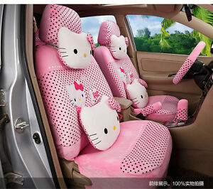 20 Piece Baby Pink Polka Dot Pretty Hello Kitty And Bunny Car Seat Covers