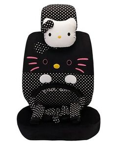 19 Piece Black Polka Dot Big Face Hello Kitty Car Seat Covers